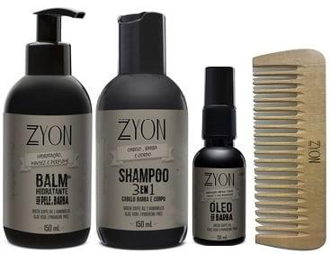 Kit para Barba Shampoo Balm Óleo e Pente