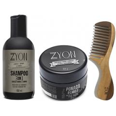 Kit Shampoo Pomada Efeito Molhado e Pente de Madeira