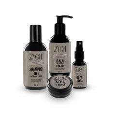 Kit para Barba Shampoo Balm Óleo e Cera de Bigode