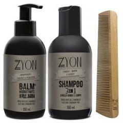 Kit para Barba Shampoo Balm e Pente Duplo